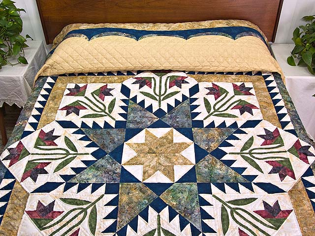 King Gold Navy and Burgundy Blooming Star Quilt Photo 1