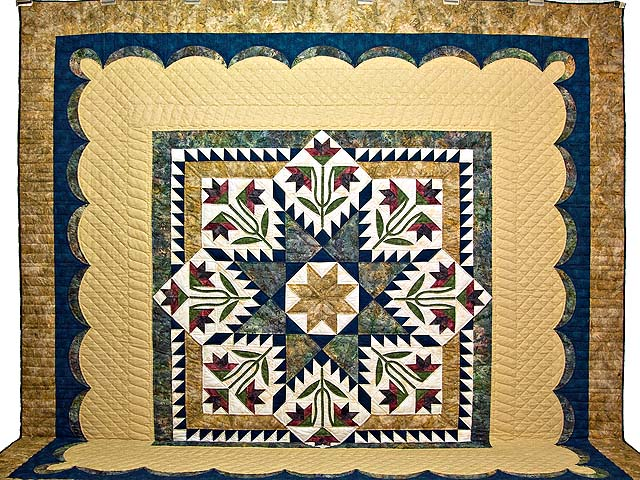 King Gold Navy and Burgundy Blooming Star Quilt Photo 2