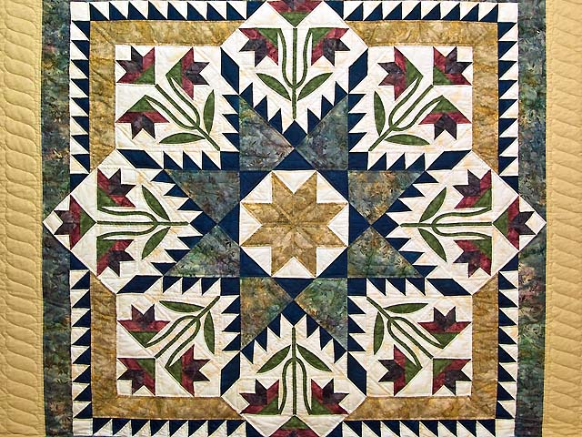 King Gold Navy and Burgundy Blooming Star Quilt Photo 3