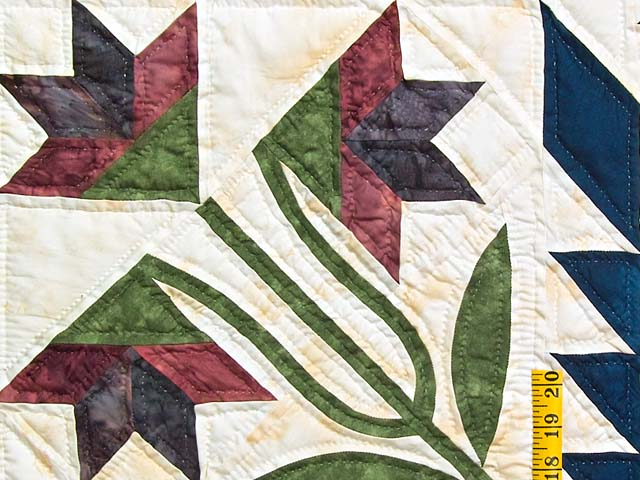 King Gold Navy and Burgundy Blooming Star Quilt Photo 5