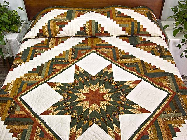 King Green Rusty Red and Gold Lone Star Log Cabin Quilt Photo 1