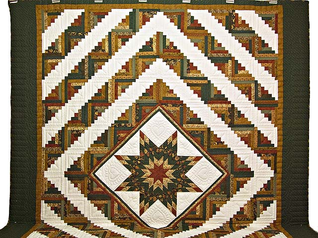 King Green Rusty Red and Gold Lone Star Log Cabin Quilt Photo 2