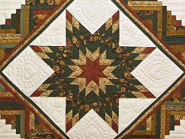 King Green Rusty Red and Gold Lone Star Log Cabin Quilt Photo 3
