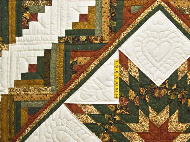 King Green Rusty Red and Gold Lone Star Log Cabin Quilt Photo 4