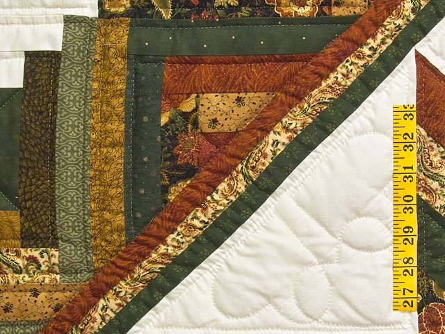 King Green Rusty Red and Gold Lone Star Log Cabin Quilt Photo 5