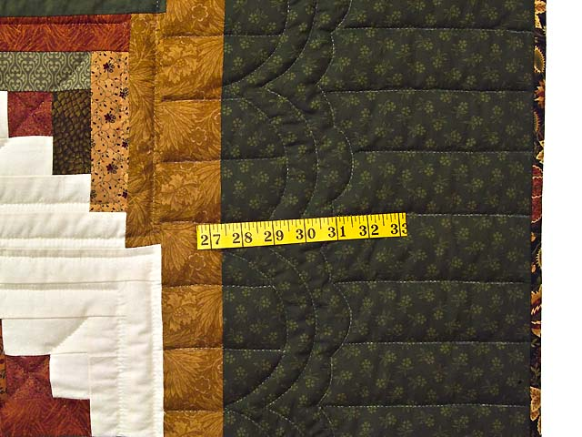 King Green Rusty Red and Gold Lone Star Log Cabin Quilt Photo 6