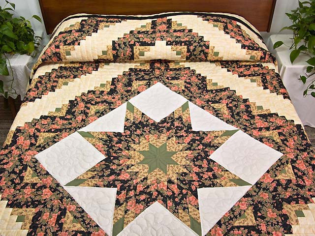 Rose Green Gold and Black Lone Star Log Cabin Quilt Photo 1