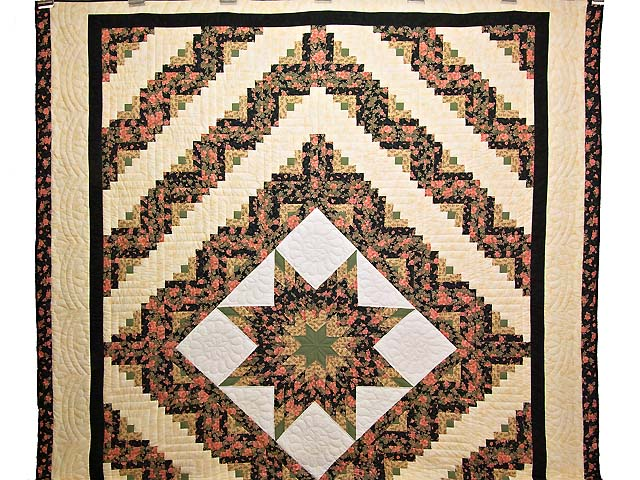 Rose Green Gold and Black Lone Star Log Cabin Quilt Photo 2