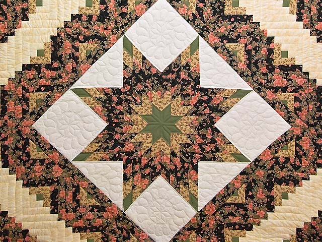 Rose Green Gold and Black Lone Star Log Cabin Quilt Photo 3