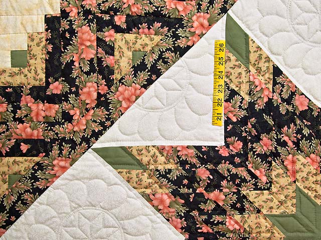 Rose Green Gold and Black Lone Star Log Cabin Quilt Photo 4