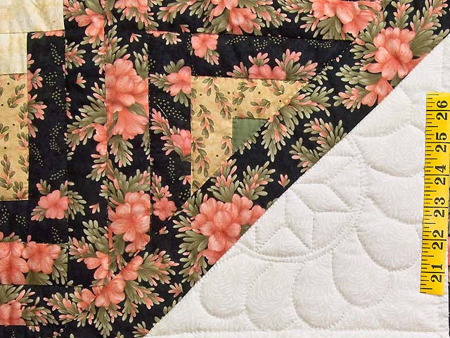 Rose Green Gold and Black Lone Star Log Cabin Quilt Photo 5