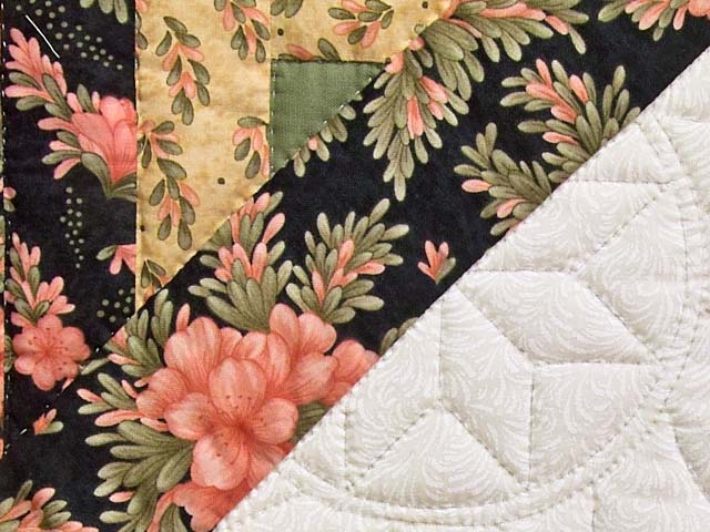 Rose Green Gold and Black Lone Star Log Cabin Quilt Photo 6
