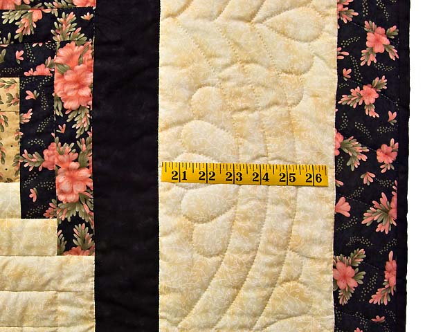 Rose Green Gold and Black Lone Star Log Cabin Quilt Photo 7