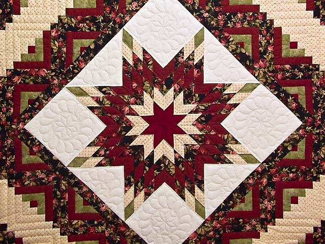 Burgundy Black And Green Lone Star Log Cabin Quilt Photo 3