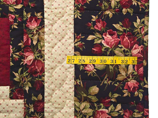 Burgundy Black and Green Lone Star Log Cabin Quilt Photo 6