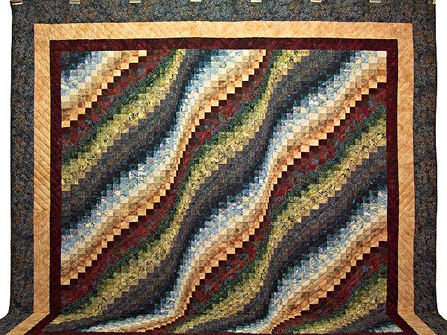King Hand Painted Bargello Wave Quilt Photo 2