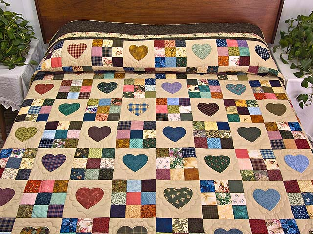 Moss Green and Multicolor Hearts and Nine Patch Quilt Photo 1