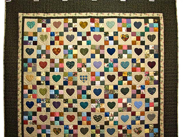 Moss Green and Multicolor Hearts and Nine Patch Quilt Photo 2