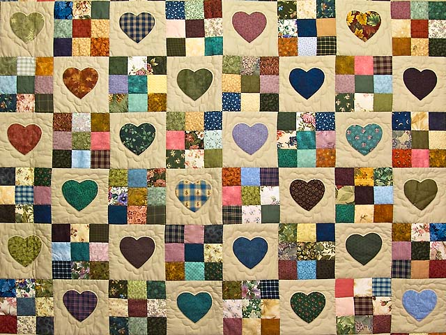 Moss Green and Multicolor Hearts and Nine Patch Quilt Photo 3