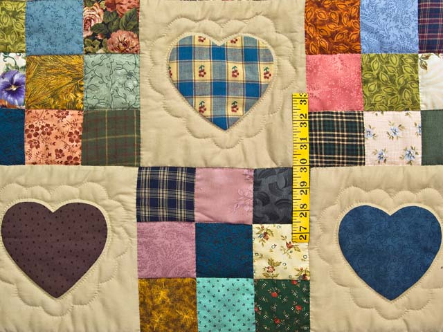 Moss Green and Multicolor Hearts and Nine Patch Quilt Photo 4