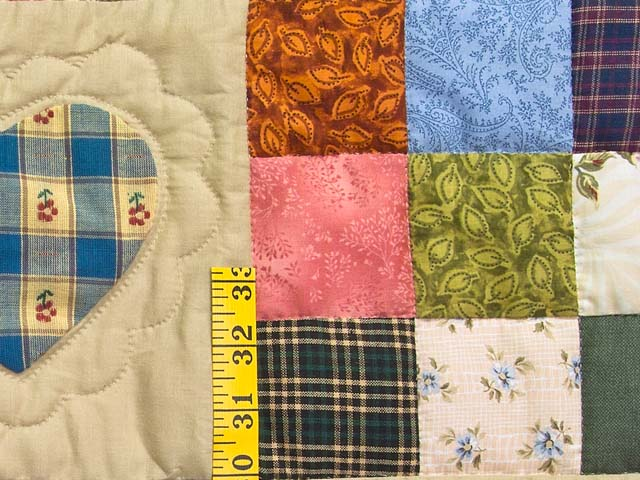 Moss Green and Multicolor Hearts and Nine Patch Quilt Photo 5