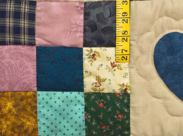 Moss Green and Multicolor Hearts and Nine Patch Quilt Photo 6