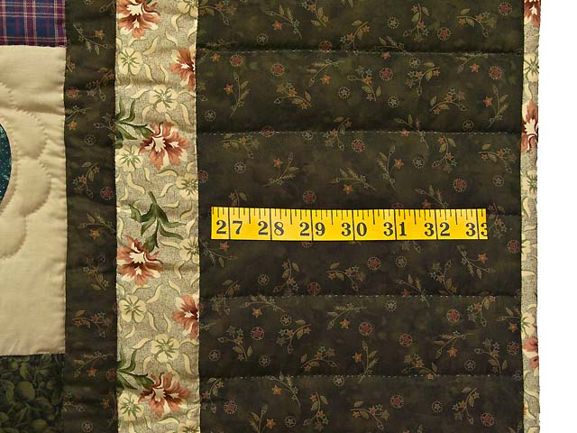 Moss Green and Multicolor Hearts and Nine Patch Quilt Photo 7