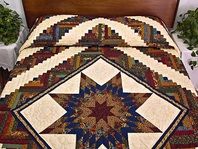 King Country Colors Lone Star Log Cabin Quilt Photo 1