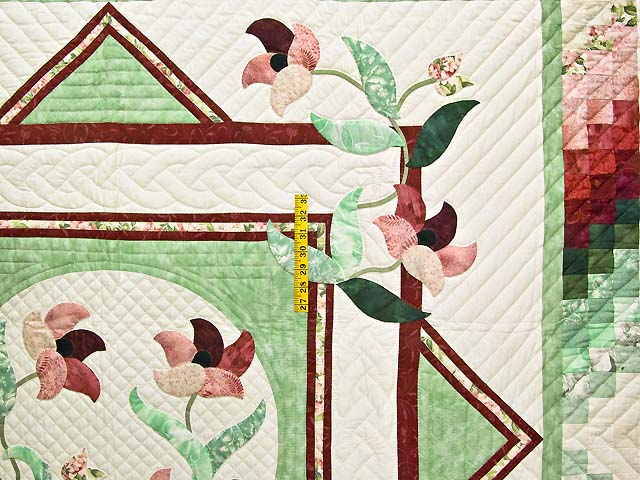Mint and Rose on Ivory Rainbow Reflections Quilt Photo 4