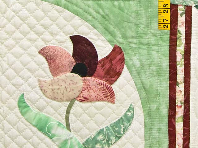 Mint and Rose on Ivory Rainbow Reflections Quilt Photo 6