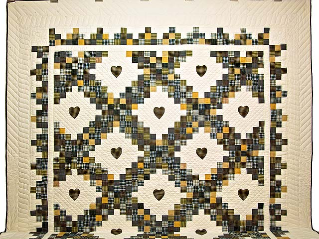 King Plaid with Hearts Triple Irish Chain Quilt Photo 2