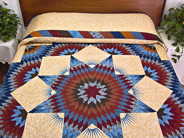 Blue and Burgundy Broken Star Quilt Photo 1