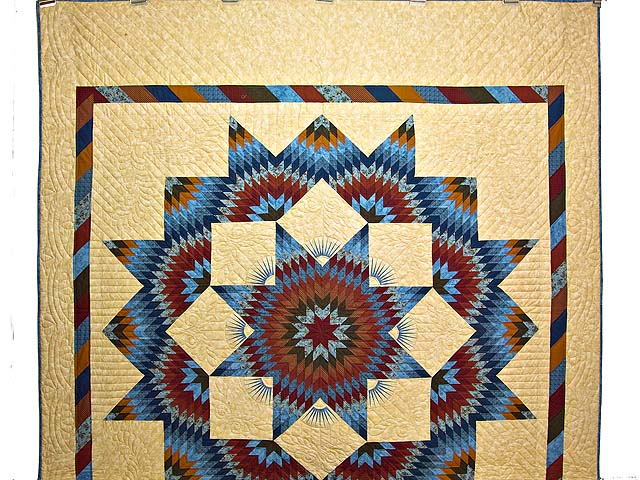 Blue and Burgundy Broken Star Quilt Photo 2