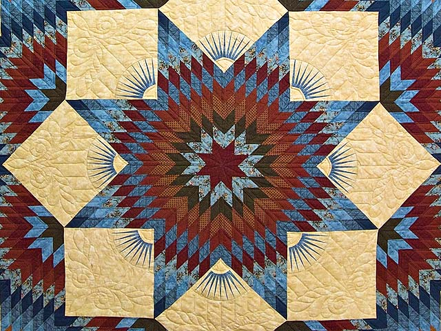 Blue and Burgundy Broken Star Quilt Photo 3