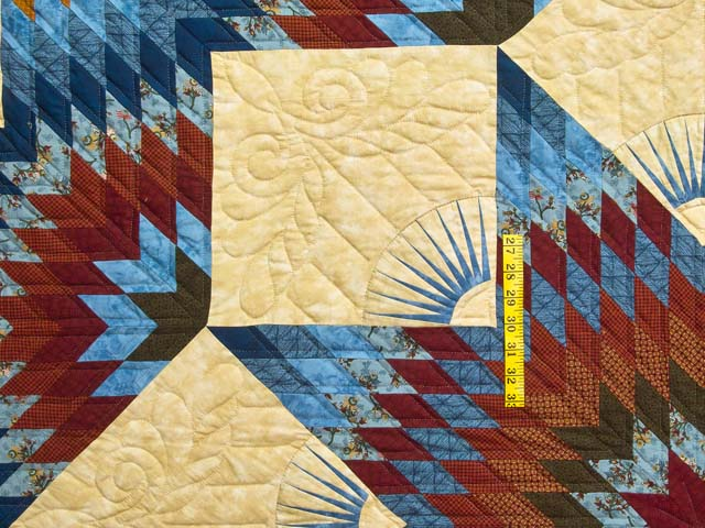 Blue and Burgundy Broken Star Quilt Photo 4