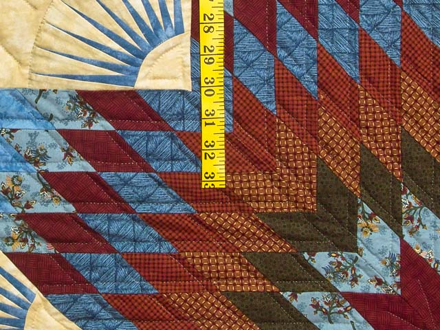 Blue and Burgundy Broken Star Quilt Photo 6