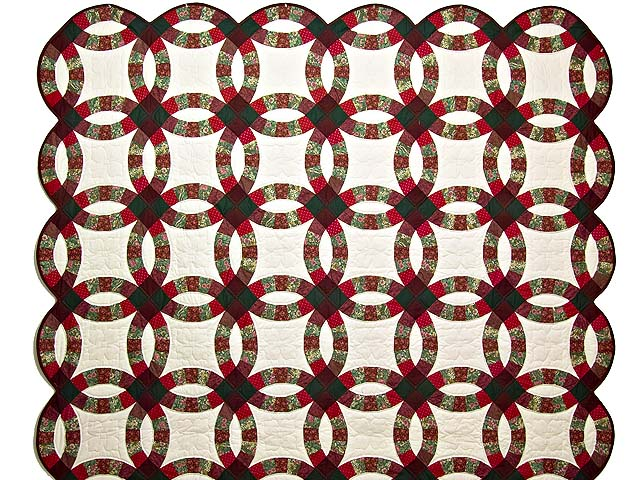 Burgundy and Green Double Wedding Ring Quilt Photo 2