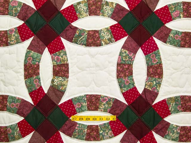 Burgundy and Green Double Wedding Ring Quilt Photo 4