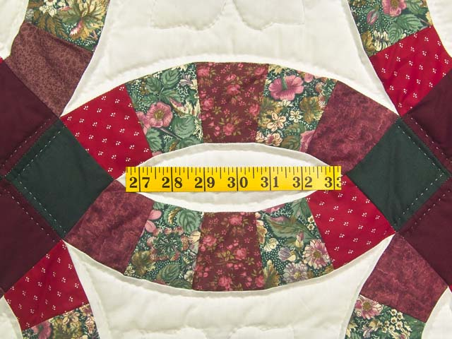 Burgundy and Green Double Wedding Ring Quilt Photo 5