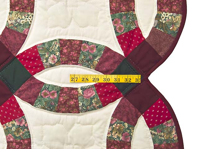 Burgundy and Green Double Wedding Ring Quilt Photo 7