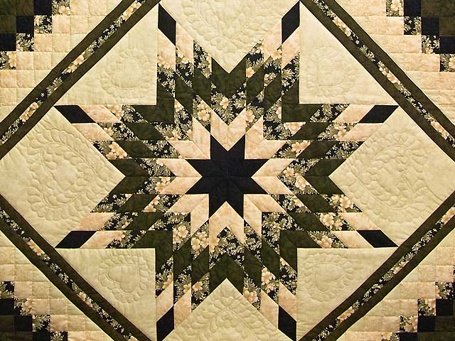 Moss Peach and Black Lone Star Trip Quilt Photo 3