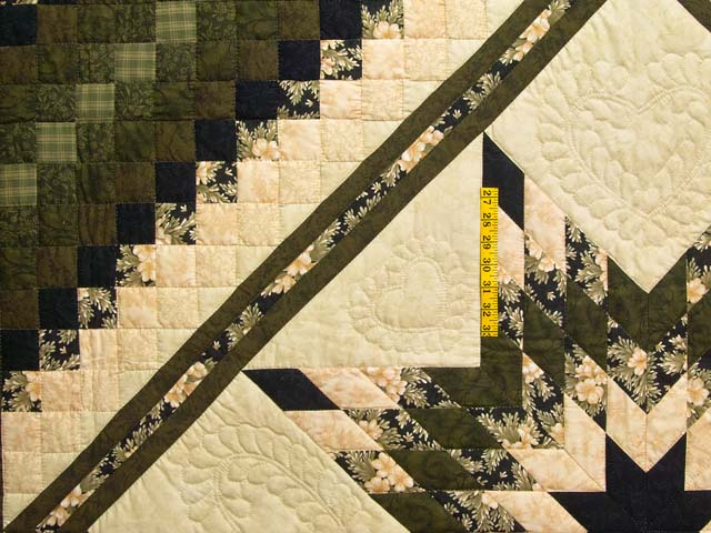 Moss Peach and Black Lone Star Trip Quilt Photo 4
