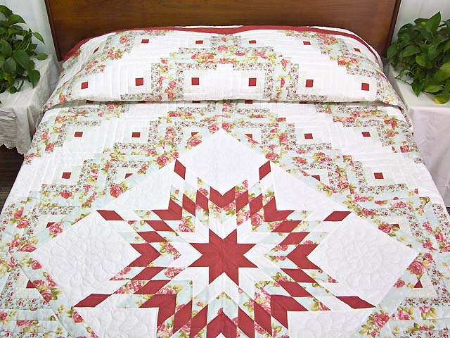 Pastel Rose Blue and Cream Lone Star Log Cabin Quilt Photo 1