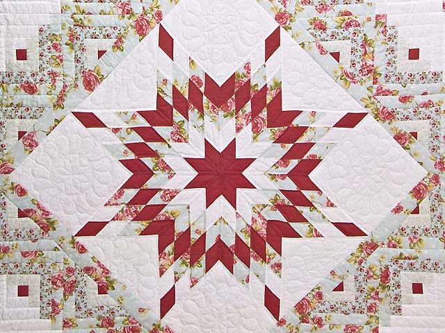 Pastel Rose Blue and Cream Lone Star Log Cabin Quilt Photo 3