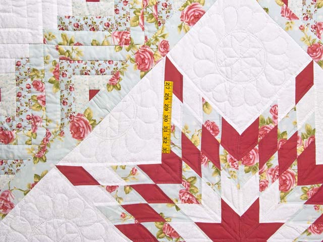 Pastel Rose Blue and Cream Lone Star Log Cabin Quilt Photo 4