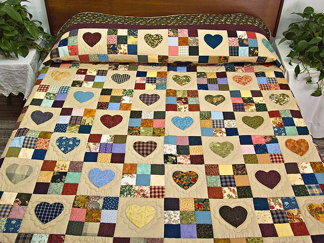 King Olive Green Burgundy and Multi Hearts and Nine Patch Quilt Photo 1
