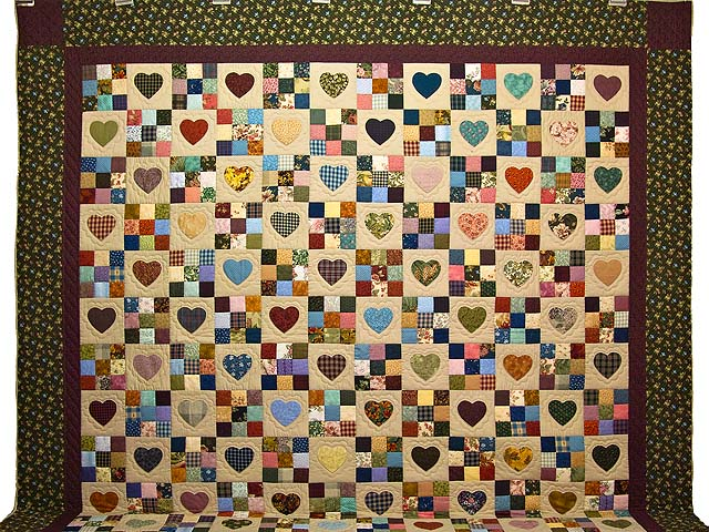 King Olive Green Burgundy and Multi Hearts and Nine Patch Quilt Photo 2