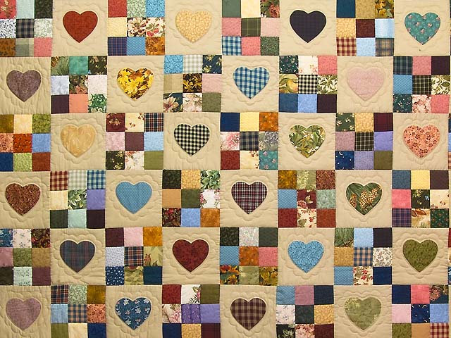 King Olive Green Burgundy and Multi Hearts and Nine Patch Quilt Photo 3
