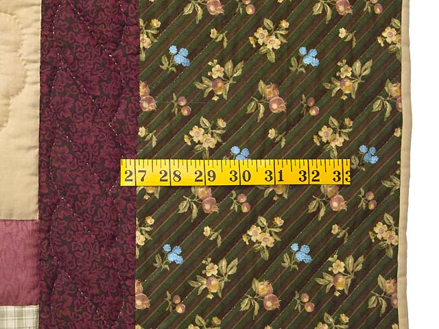 King Olive Green Burgundy and Multi Hearts and Nine Patch Quilt Photo 6