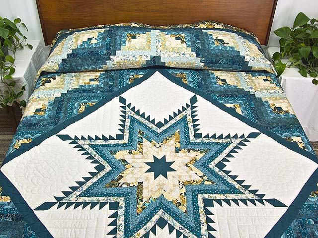 Watery Blue and Gold Feathered Star Log Cabin Quilt Photo 1
